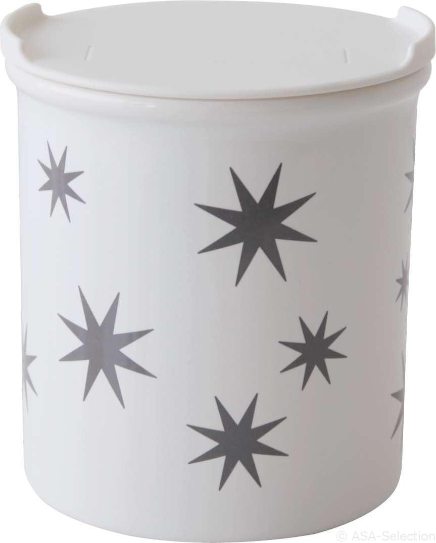 ASA 4872425 Vorratsdose Tannenbäume Porzellan weißGold Höhe 10 cm Ø 9 cm