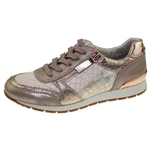 Materialmix Schuhe Frauen gold Sneaker TOM Rose TAILOR im für zYwxnpa