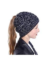 Knit Skull Beanie Ponytail Messy Bun BeanieTail Soft Winter Knit Stretchy Beanie Hat Cap with Ponytail Hole
