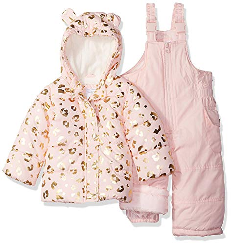 Carter's Girls' Little 2-Piece Heavyweight Printed Snowsuit, Leopard Light Pink, 6X
