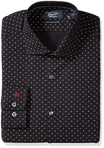 (Original Penguin Men's Slim Fit Performance Spread Collar Printed Dress Shirt, Navy Foulard Print, 16 32/33)