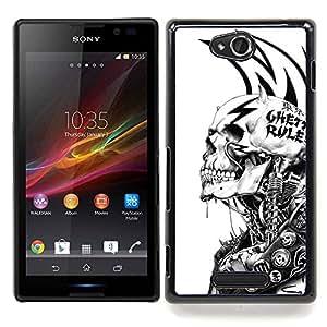 "Qstar Arte & diseño plástico duro Fundas Cover Cubre Hard Case Cover para Sony Xperia C (Grunge Mech Esqueleto"")"