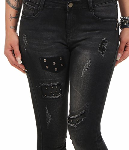 38 Jeans turquoise Femme Noir Fashion4Young Turquoise xqPfgnZOw
