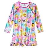 Big Girls Emojis Design Long Sleeve Sleep Gown/Nightgown Light Fleece Sleepwear Pajamas (XLarge) 14/16