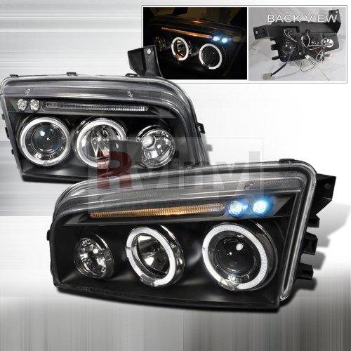 Dodge Charger Light - Spec-D Tuning LHP-CHG05JM-TM Dodge Charger Halo Led Projector Head Lights Black