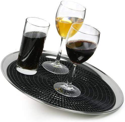 12 Inch Bar Tray Mat drinkstuff Anti-Skid Tray Mat for 14inch Waiters Tray Black Rubber Mat for Circular Trays