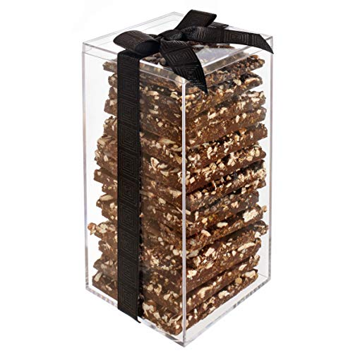 Kayx Dark Chocolate Bark Thins - Elegant Gift Tower - Natural and Fresh Ingredients - Crunchy and Sweet Snack - (Nut Crunch Acrylic, Tall)