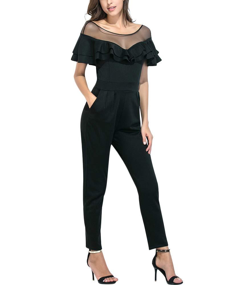 Aro Lora Women's Short Sleeve Sheer Mesh Ruffle Patchwork Jumpsuit Romper with Pocket XX-Large Black