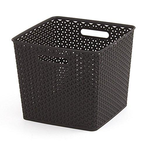 Curver 03613-210-00 My Style Foldaway Storage Box Rattan Effect Large 30 L Tall Chocolate