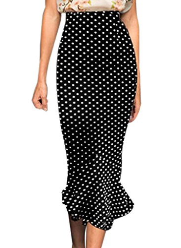 VfEmage Women's Vintage High Waist Wear to Work Mermaid Pencil Skirt 607 Black 12 (Skirt Stretch Leopard)