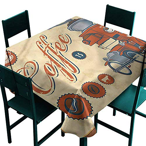 (DONEECKL Polyester Tablecloth Retro Truck Coffee Grinder Excellent Durability W70 xL70)