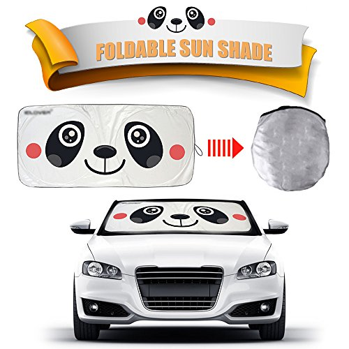 Panda Visor - 2win2buy Cartoon Car Windshield Sun Shade, Front Auto Car Windshield SunShade Foldable UV Rays Sun Visor Protector with Unique Design to Keep Your Vehicle Cool and Damage Free (Panda-Big)