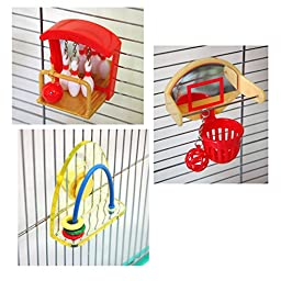 Sudo Bird Toys 3 Items Bundle: Bird Bowling, Bird Basketball, Ball ring (B06)