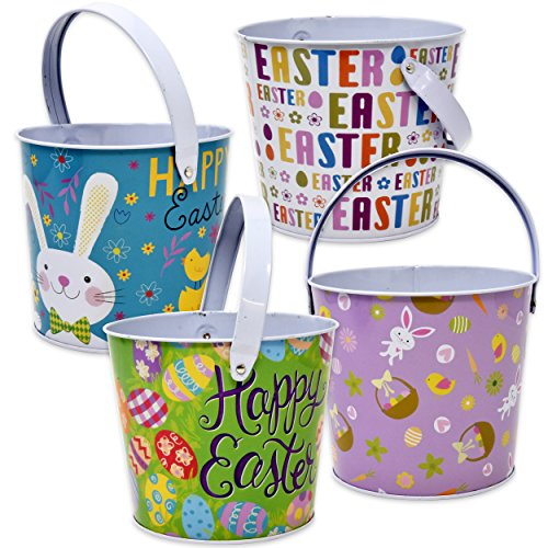 "4 Pack Tin Metal Easter Pail Buckets 4.75"" In 4 Assorted Designs Round Baskets Small Pails with Handles For Easter Egg Hunt Stuffers Kids Party Favors Supplies Candy Centerpieces by -"