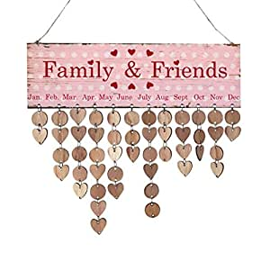 Inverlee Creative DIY Calendar Wood Birthday Reminder Board Birch Ply Plaque Sign Family &Friends Birthday Reminder (B)