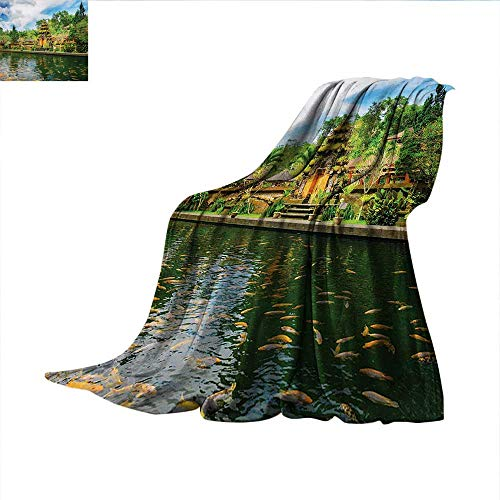 Balinese Weave Pattern Blanket Tirta Empul Temple Bali Indonesia Exotic Trees Oriental Building Fish Lake Photo Summer Quilt Comforter 80
