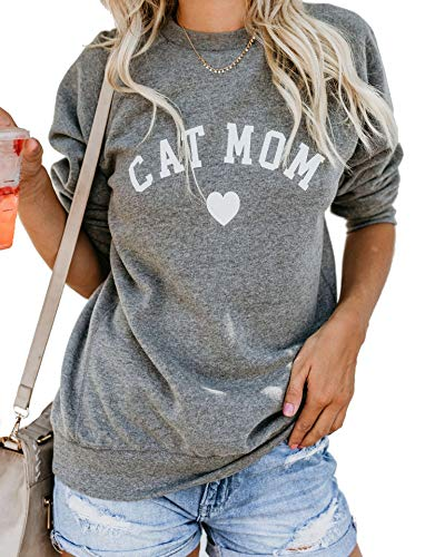 Heymiss Womens Tops Cat Mom Shirt Long Sleeve O Neck Letter Print Sweatshirts Grey S