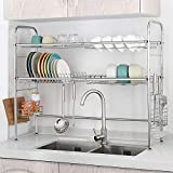 NEX Over the Sink Dish Drying Rack 2 Tier Stainless Steel Dish Rack...