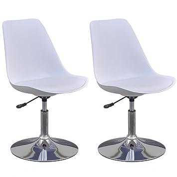 Vidaxl 2x Chaise De Salle A Manger Pivotante Reglable Blanc Chaise