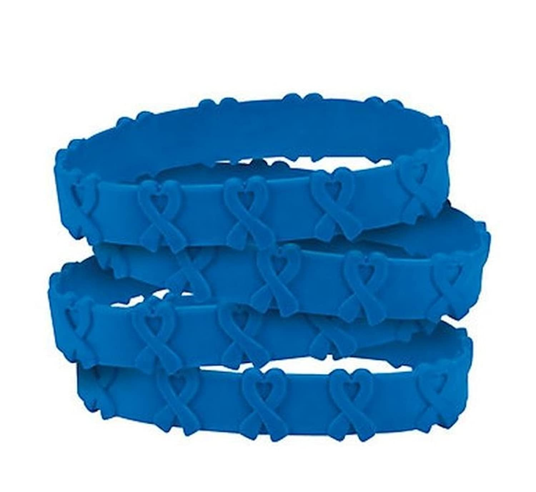 100 Blue Awareness Pop-Out Bracelets Support colon cancer, colorectal cancer, child abuse