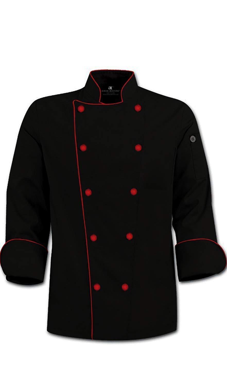 Aurum Creations Royal Series Black Chef Coat Red Piping Contrast (Medium(38))