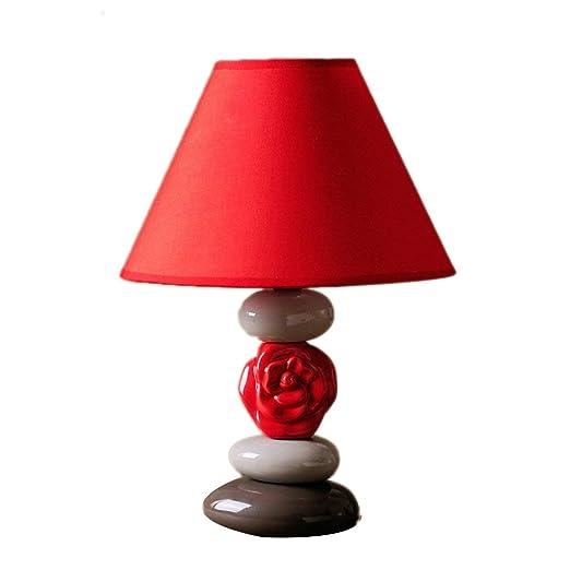 Hotel Lámpara de mesa roja Lámpara de Escritorio de cerámica ...