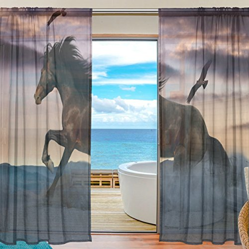 SEULIFE Window Sheer Curtain, Animal Horse Bird Voile Curtain Drapes for Door Kitchen Living Room Bedroom 55x78 inches 2 Panels by SEULIFE