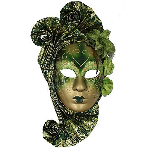 Hophen Green Flower Jester Venetian Mask Masquerade Mardi Gras Wall Decorative Art Collection