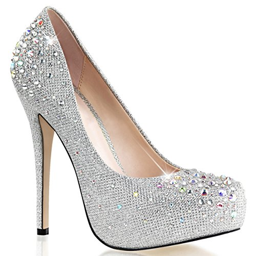 Women Silver Glitter Pumps Shoes with 5 Inch Heels and Rhinestone Embellishment Size: 11