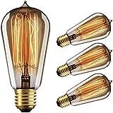 Edison Bulbs Dimmable, YUNLIGHTS 60W Vintage Light Bulbs, Thomas Antique Retro Old Filament Bulb, E26 ST58 110-130V 2500-2700K Warm White , 4 Pack