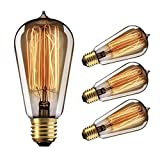Edison Bulbs Dimmable, YUNLIGHTS 60W Vintage Light Bulbs, Thomas Antique Retro Old Filament Bulb, E26 ST58 110-130V 2500-2700K Warm White , 4 Pack