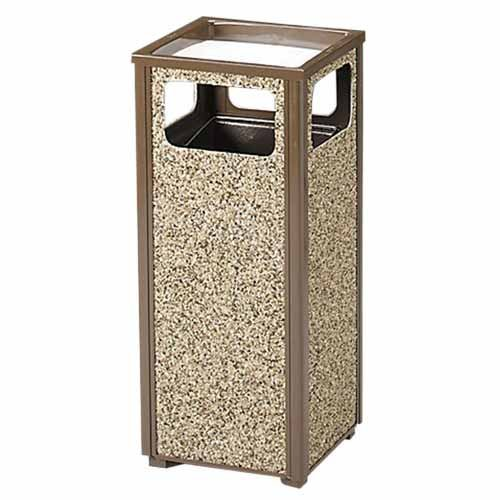 Rubbermaid Commercial Products Sand Urn Litter Receptacle, 12 Gallon, 13-1/2''Sqx32''H,Brown