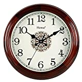 "Hense 14-inch Natural Solid Pine Wood Round Clocks Non-ticking Mute Silent Quartz Movement Clock Classic Chinese Totem Decorative Wall Clock HW15 (14""-HW15 Brown)"