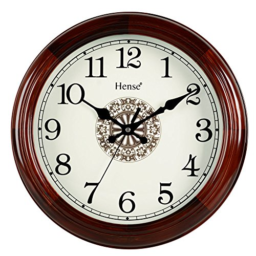 HENSE 14-inch Natural Solid Pine Wood Round Clocks Non-ticking Mute Silent Quartz Movement Clock Classic Chinese Totem Decorative Wall Clock HW15 (14''-HW15 - Frames Round Wood