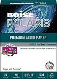 BOISE POLARIS PREMIUM LASER PAPER, 8 1/2'' x 11'', Letter, 98 Bright White, 24 lb., 4000 Sheets/Carton, 40 Cartons/Pallet