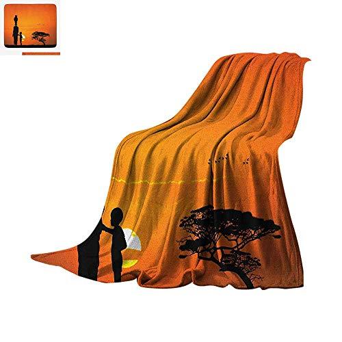 "Luoiaax African Warm Microfiber All Season Blanket Child and Mother at Sunset Walking in Savannah Desert Dawn Kenya Nature Image Summer Quilt Comforter 60""x50"" Orange Black"