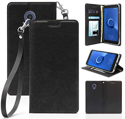 [Black] Leather Wallet Case Credit Card Slot ID Cover, View Stand [Subtle Magnetic Closure, Wrist Strap] for Alcatel TCL LX, A502DCP, A502DL (TracFone/Straight Talk/Simple Mobile/Total/Walmart Family)