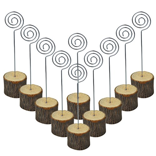 Bantoye 6 Inches Real Wooden Base Memo Photo Clip, 10 Pcs Rustic Table Wood Stands Card Holders Paper Note Clip for Christmas Party Wedding Home Bar Decoration -