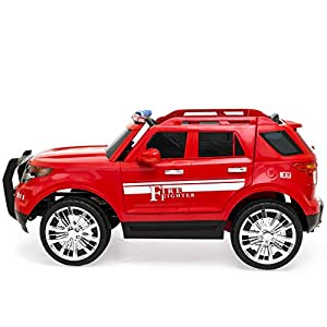 Best Choice Products 12V Ride On Firetruck w/ Remote Control, Megaphone, 2 Speeds, LED Lights (Red)