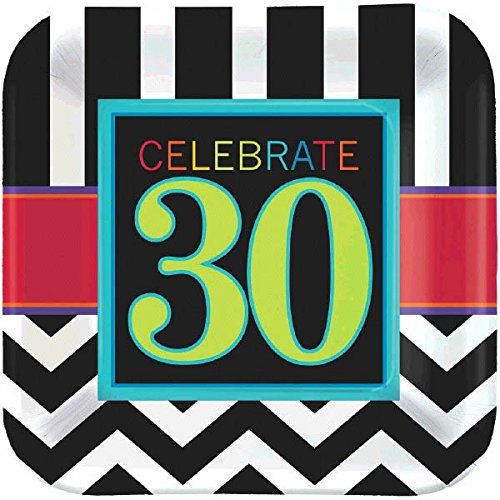 amscan Must-Have Chevron and Stripes 30th Birthday Party Square Dessert Plates Tableware, Pack of 8, Multi , 7