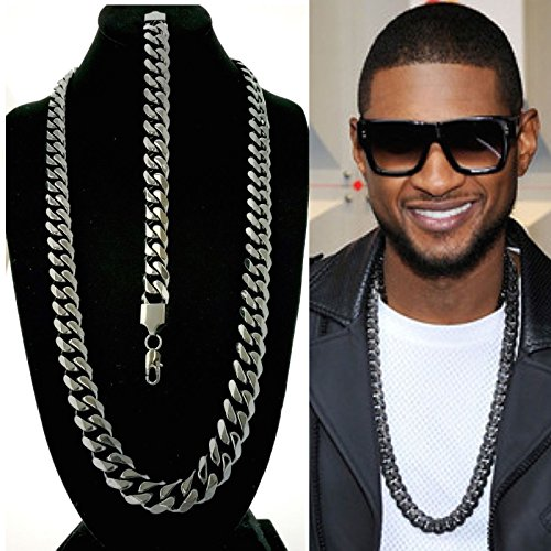 15mm Chain (Solid Heavy 15mm Black Finish Stainless Steel Miami Cuban Link Chain & Bracelet)
