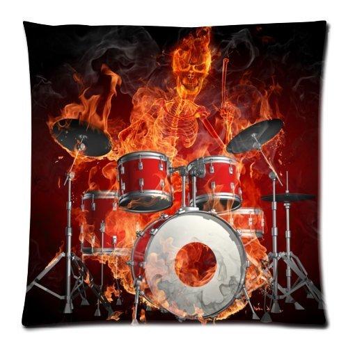 - Personalized cool rock drum set£¬classic drum kit musical instrument pattern soft Satin bolster case pillowcase,Zipper pillow cases 18