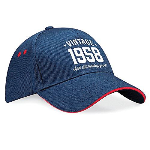 Trim 60 para cumpleaños 60 Red 60 Putty cumpleaños tal cumpleaños Trim vintage de cumpleaños gorra tela de cumpleaños mujeres 1958 para de Navy Navy regalo 60 cumpleaños béisbol Regalo sombrero hombres xwXYq6Fq