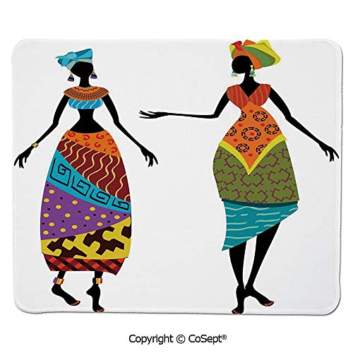 Quality Selection Comfortable Mouse Pad,Tribal Ladies in Traditional Costume Silhouettes Ethnicity Elegance Vintage Decorative,Dual Use Mouse pad for Office/Home (11.81