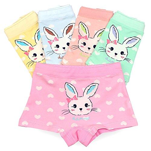 BOOPH Rabbit Girls Underwear Pack of 5 Toddler Panties Cute Cotton Bunny Boyshort for Girls 2-13 Years
