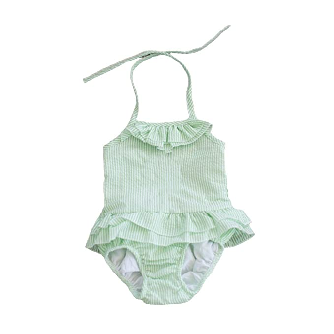 ca04225d3d MONOBLANKS Baby Girls Seersucker One Piece Swimsuit Toddler Bathing Suit  (2/3t, Lime