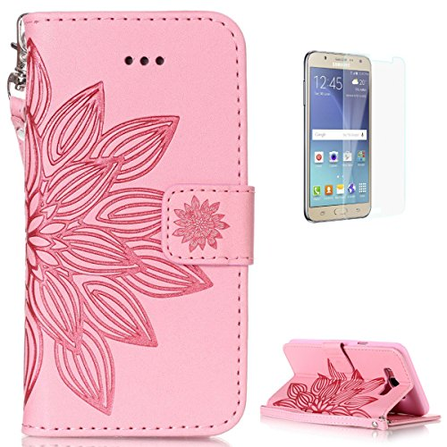 Samsung Galaxy J7 2016 Leather Wallet Case  With Free Screen Protector  Kasehom Mandala Lotus Flower Embossed Folio Magnetic Flip Stand Pu Leather Protective Case Cover Skin Shell Pink  2