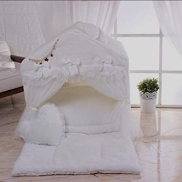 ... Mascotas Casa para Mascotas Interiores Dibujos Animados Encantadora Desmontable Cuatro Temporadas VersióN Coreana Princesa,White,L: Amazon.es: Hogar