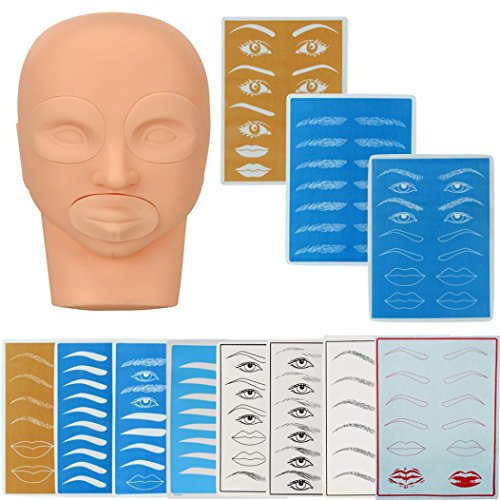 80s Style Makeup (Hatop Practice Model Head And Practice Skin For Permanent Tattoo Makeup Eyebrow Set)