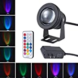 10W LED RGB Multi-color Changing LED Underwater Light Water Resistant Garden Landscape Fountain Pond Floodlight Lamp Bulb with AC to DC power adapter US plug, Memory Function,Timing Setting (Black)